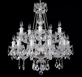 15 Arms Silver crystal chandelier with Swarovski crystal almonds