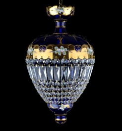 Blue basket chandelier with glass flowers & Crystal trapezoids