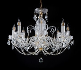 Smaller hand cut chandelier with 8 arms BOHEMIA CRYSTAL