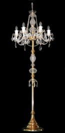 Glossy gold crystal floor lamp with 6 candle bulbs