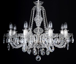 8 Arms silver crystal chandelier with original Swarovski crystal almonds
