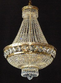 9 bulbs Strass basket crystal chandelier with large cut octagons & crystal drops