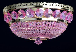3 Bulbs surface-mounted basket crystal chandelier with large cut fuchsia octagons - Gold brass