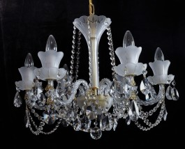 Bohemian small crystal chandelier of white sand blasted glass