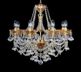 Luxurious gold painted chandelier for the living room.