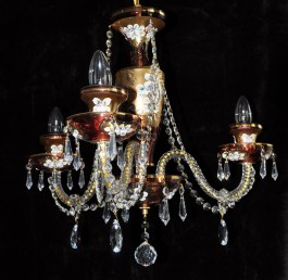 Ruby red crystal chandelier with 3 glass arms