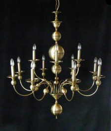 12 Arms stained Dutch chandelier made of manually pressed brass parts ANTIK