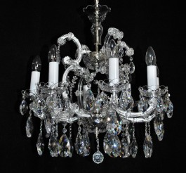 8 flames Silver Maria Theresa crystal chandelier with crystal almonds