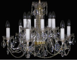12 Arms glass crystal chandelier with cut crystal almonds