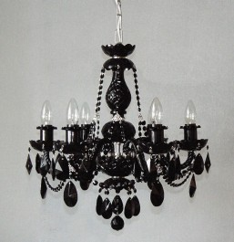 6 Arms Silver crystal chandelier with Black almonds