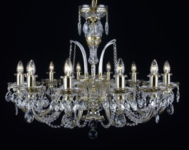12-arm Luxurious gold crystal chandelier