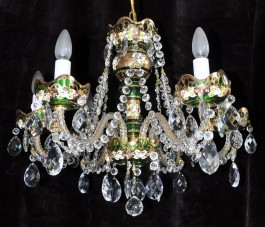 Green crystal chandelier with 6 arms and HE decoration