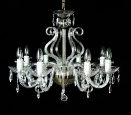 8 Arms Crystal chandelier with glass horns & cut crystal almonds ANTIK