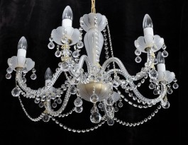Six arm crystal chandelier with white sand blasted glass