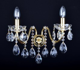 2 Arms brass crystal wall light with cut almonds and tubular arms
