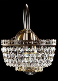 1 Arm Strass crystal wall light with one metal arm - ANTIK brass