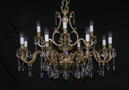 Large crystal chandelier made of cast brass