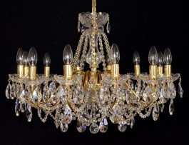 12 Arms gold brass crystal chandelier with cut crystal almonds