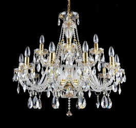 larger 15-bulbs Czech crystal chandelier with gilded cut