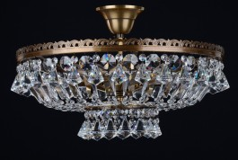 6 Bulbs brown stained basket crystal chandelier with diamond-shaped crystals