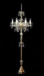 Gold brass crystal floor lamp with the range of 160 cm height