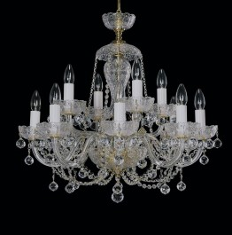 Large hand-cut crystal chandelier 6+6 arms