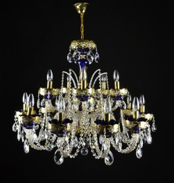 Large blue crystal bohemian chandelier