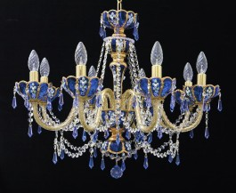 Blue artistic crystal chandelier