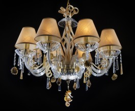 Creamy crystal chandelier with lamp shades and shells