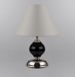 1 bulb black glass table lamp with the white lampshade