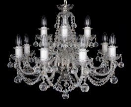 Silver crystal chandelier with cut balls to the living room