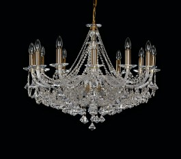 12-bulb chandelier with diamond trimmings pattern Preciosa (called pyramids)