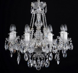 8 Arms Silver crystal chandelier with cut crystal almonds