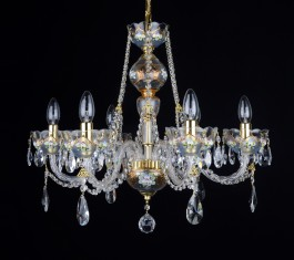 The smaller crystal chandelier  fine enamel paintings on clear glass