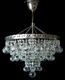 3 Bulbs basket crystal chandelier with cut crystal balls