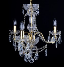 3 Arms gold brass crystal chandelier with cut crystal almonds