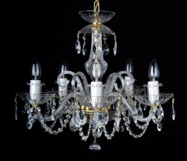 The 5 bulbs crystal chandelier decorated with cut crystal almonds and glass horns