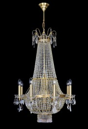 8 Arms basket crystal chandelier with Strass crystal chains - (8+5) candle bulbs