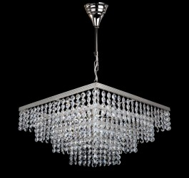 6 bulbs silver square Strass crystal chandelier - Glittering cut octagons
