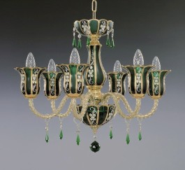 Green crystal chandelier of panelled art glass