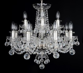 Silver crystal chandelier made of hand cut leaded crystal glass - cut balls
