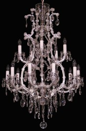 15 flames Silver Maria Theresa crystal chandelier with almonds