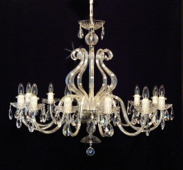 12 Arms Silver crystal chandelier with glass horns & cut crystal almonds