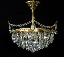 6 Bulbs basket crystal chandelier with cut crystal almonds