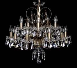 15 Arms plain crystal chandelier with cut crystal almonds ANTIK