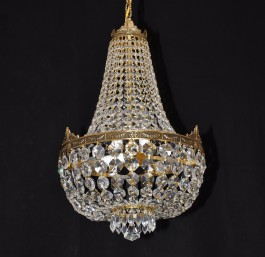 5 bulb Basket crystal chandelier - Cast brass