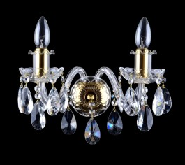 2 Arms crystal wall light with cut almonds & glossy brass tubes