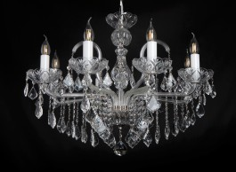 Chandelier in a modern interior with crystal trimmings