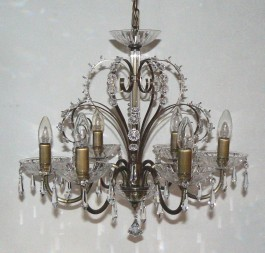 6 Arms plain crystal chandelier with cut crystal drops ANTIK