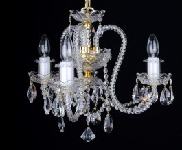 3 Arms Crystal chandelier with long twisted glass arms